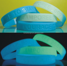 Cheapest printing silicone wristbands with a glow in the dark effect