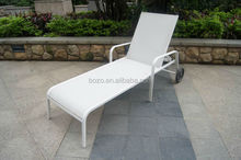 White Alu. Mesh Outdoor Sun Loungers/Cheap garden metal chaise lounge