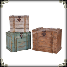 Wooden storage antique trunk for home