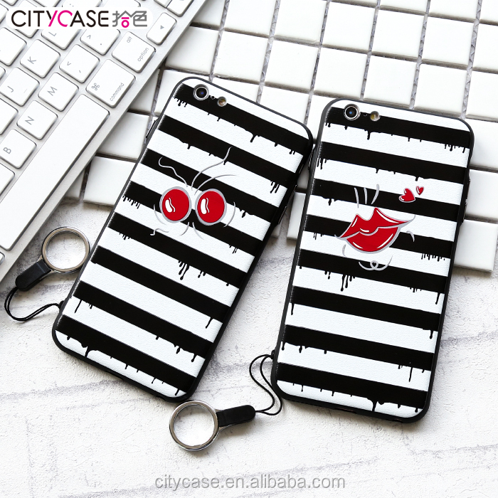 citycase Anti-Scratch And Shock Resistance Strip with kiss Back mobile Phone Cases Cover for iPhone 6 6S 7
