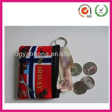 Eco-friendly waterproof neoprene mini coin purse with key ring