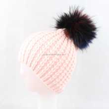 Wholesale Pink Knitted Fur Ball Beanies Cheap Winter Knitted Hats for Women