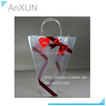Hanging for potted plant PP plastic bowknot carry bags with pvc handle