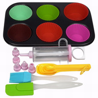JK16250HA Cake Decorating Tools Cupcake Cup Baking Tools Set with Muffin Pan, Decorating Tips Set