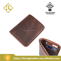Leather RFID blocking leather Mini travel slim Wallet Useful Card Wallets credit Card protector Wallet