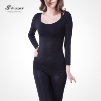 S-SHAPER Ladies' Sexy Breast Corset Far Infrared Rays Long Sleeve Seamless Bodysuit Slimming Shapewear