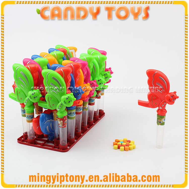 Colorful plastic butterfly shaped whistle toy candy from factory