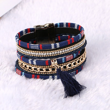 Fashion European Magnetic Buckle Bracelet Multilayer Rhinestone Tassel Leather Bracelet