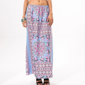 Fashion printing multicolor girls bohemian style long skirt