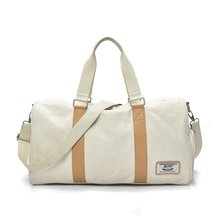 Vintage heavy duty white canvas leather travel bag weekender duffle shoe bag