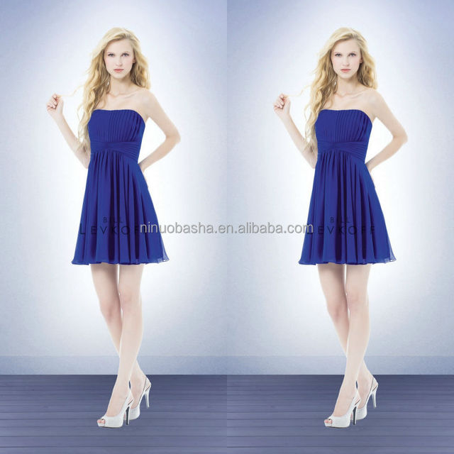 Royal Blue Short Bridesmaid Dress 2014 Strapless Mini Chiffon A-Line Prom Party Gown With Pleats Bodice Draped Skirt NB0741