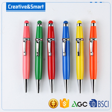 Promotion Custom Logo Printed High Quality Multi-Function Twistable Mini Stylus Pen Coloured Fat Ballpoint Pen For Smartphone