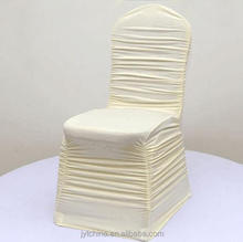 High quality spandex wedding chair cover chiffon organza sash ruffle chair cover