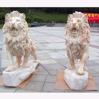 Outdoor Used Marble Running Lion Statue Sculpture,Sunset Red Roaring Lion Marble Statue Sculpture