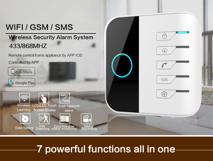24 wireless+4 wired zones WIFI/GSM dual network APP control two way communication burglar alarm system for home
