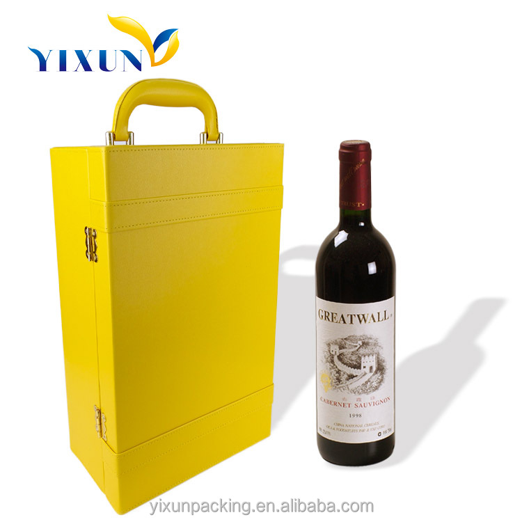 High quality Hard paper bags two bottles leather wine carrier
