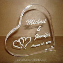 Clear Acrylic Personalized Mordern Heart Wedding Cake Topper Lucite Topper for Wedding Cake Party Decoration Cake Stand