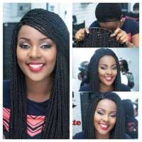 fashionable african long kinky twist micro braided front lace wigs for black women