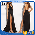 direct manufacturer sexy women halter cut out backless high slits evening dress