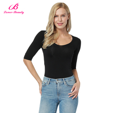 Hot Selling Body Hugging Black Bamboo Women Manufacturing T Shirt Design