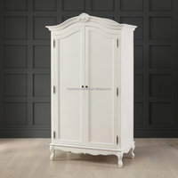French Baroque Style Hand Painted Wardrobe Design 2 Door Ivory White MDF Wooden Bedroom Armoire