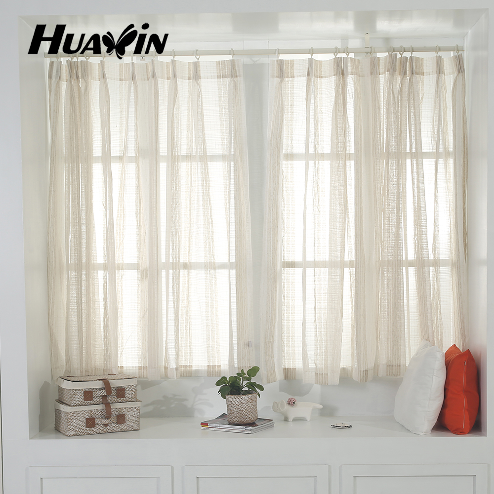 100%polyester cheap price stripe sheer fabric curtain