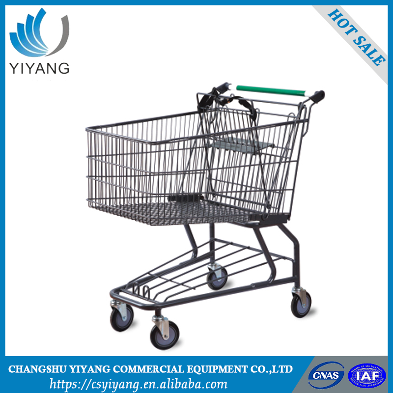 Solid structure supermarket shopping trolley with seat