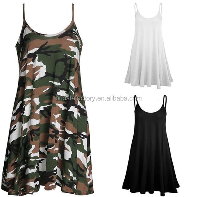 Wholesale Women Strap Camouflage Dress