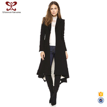 A Forever Fainress 2017 Casual Lapel Design Forked Tail Maxi Women Long Black Coat