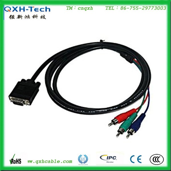 Factory wholesale 6ft HDB15 Pin male to 3RCA male VGA cable for display device