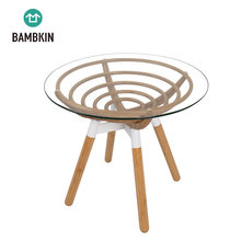BAMBKIN bamboo living <strong>furniture</strong> round tea table glass end table coffee side table
