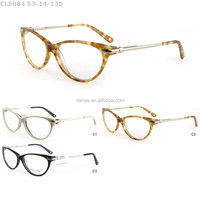 2015 fashion glasses frame,eyewear with cat shape and metal temple