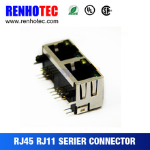 New hot best Dosin double rj45 female pcb mount 2 port connector with transformer