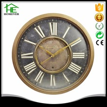Chinese antique gold Roman numeral metal wall clock