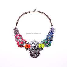 Multicolor fluorescence gem stone handmade acrylic necklace brand flower necklace