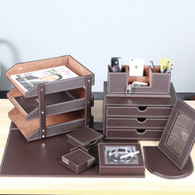 2017 New Arrive Luxury PU Office Funiture faux Leather Gift Desk Set Office Stationery Set
