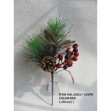 1'Christmas Red and Black Berry Holly Leaves and Pinecone Indoor Decoration Small Pick