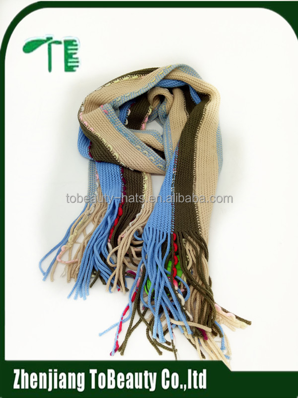 Wholesale In Stock Multicolor Fashionable Knitted Scarf