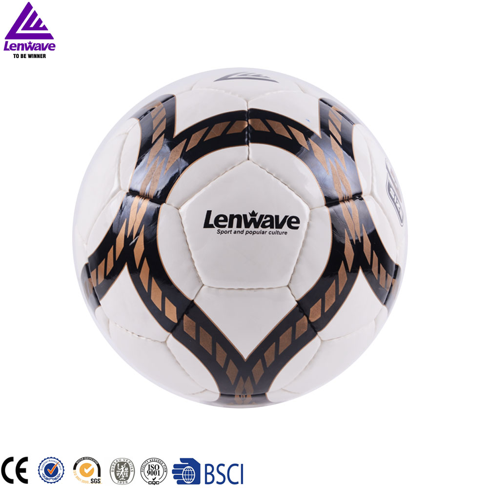 Lenwave branded soccer ball size 5 custom print hand sewing match leather soccer ball