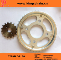 zinc plate motorcycle spare parts 1045# TITAN CG150 43/16T sprocket supplier