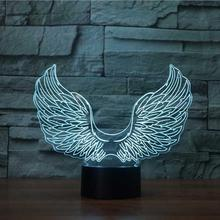 Novelty Angel Wings colorful table desk illusion led 3d night light lamp