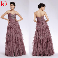 New arrival Ruffle sexy off shoulder design evening dress online shopping