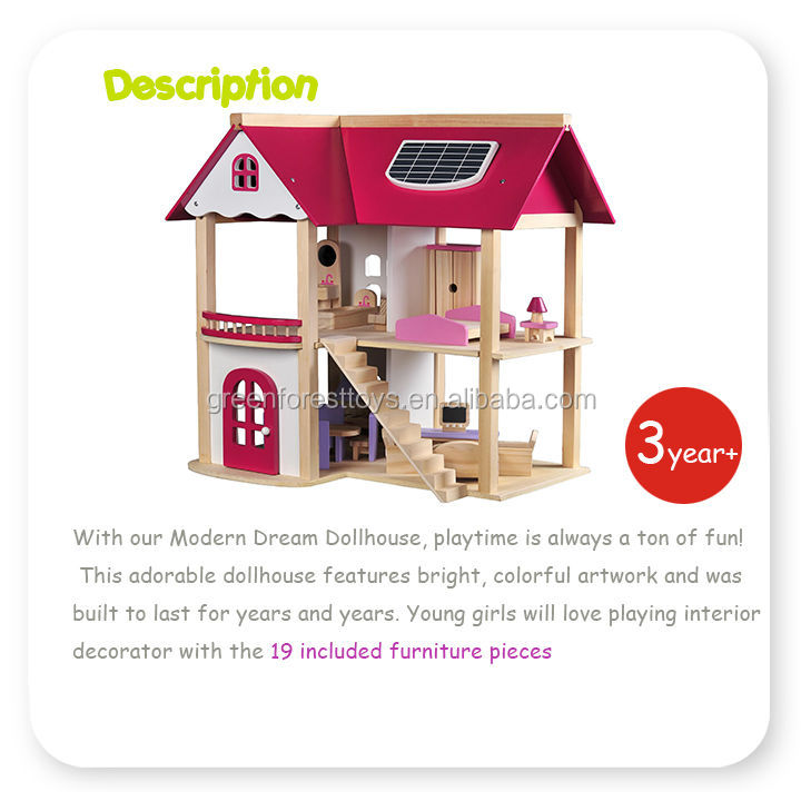 Pretend Play Game Wooden Toy Doll House with 19 Pieces of Furniture Accessories for kids