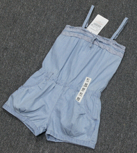 Condole belt jumpsuits of the girls washed cotton girls denim shorts girls jumpsuit blue shorts blue jumpsuit