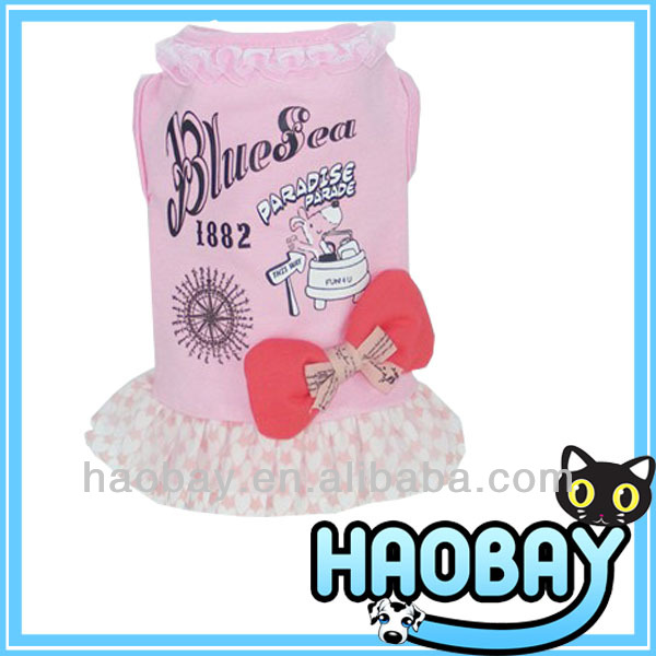 Pink Carton Cute Dress With Bowknot Wholesale Dog Clothes And Accessories