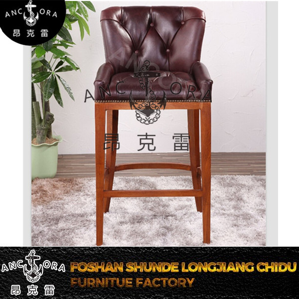 bar stools vintage leather high chair with wooden legs K629