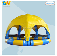 Good quality 0.6mm PVC giant inflatable water pool with tent