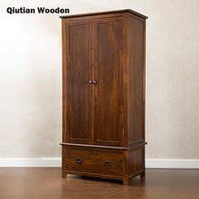 Solid wood bed room wardrobe pine wooden clothes cabinet antique style furniture