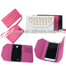 Hot selling stud wallet case for Samsung Galaxy S4, for Galaxy S4 wallet punk