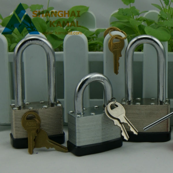 Aluminum Laminated Padlock With Rubber Cover and Chromed hardened steel shackle